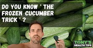 Tony holding a frozen cucumber