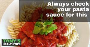 Pasta sauce over noodles