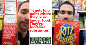 Tony in grocery store with Ritz crackers
